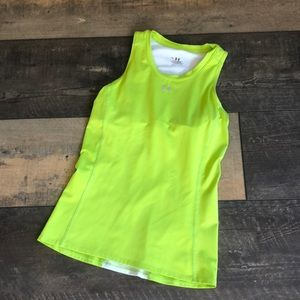 Under Armour Neon Green Run Yoga Bra Tank M
